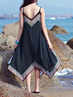Black Chinese Open Back Loose Located Printing Asymmetrical Hem V Neck Slip Dress for Casual Beach