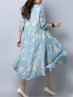 Blue and White Literary Loose Cardigan Band Belt Printed Midi Plus Size Dress for Casual