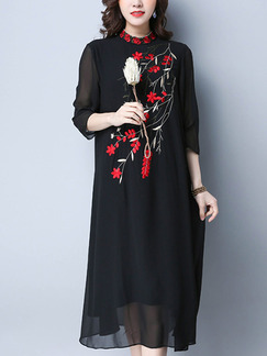 Black and Red Chiffon Plus Size Loose Stand Collar Embroidery Midi Floral Dress for Casual Office Party