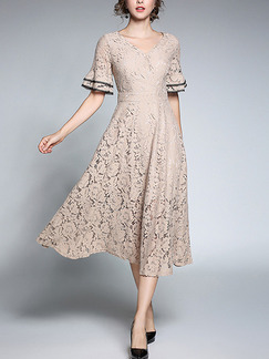 Beige Lace Slim Full Skirt V Neck Contrast Laced Flare Sleeve Midi Plus Size Dress for Casual Party Evening Office