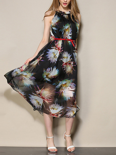 Black Colorful Chiffon Loose A-Line Open Back Printed Band Plus Size Floral Dress for Casual Party Beach