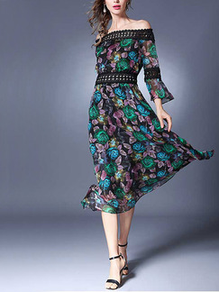 Colorful Chiffon Slim Full Skirt Lace Contrast Linking Printed Plus Size Dress for Casual Party Evening