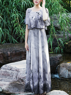 Grey Chiffon Loose Plus Size Seem-Two Off-Shoulder Located Printing Maxi Dress for Casual Beach