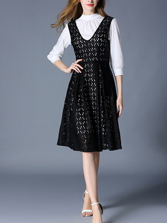 Black and White Lace Slim V Neck Contrast Two-Piece Stand Collar Cutout Plus Size Dress for Casual Party Evening Office
