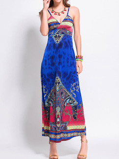 Blue Colorful Slim Open Back Off-Shoulder Located Printing Slip Dress for Casual Beach