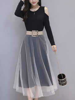 Black Slim A-Line Contrast Linking Off-Shoulder Mesh See-Through Plus Size Long Sleeve Dress for Office Evening Casual
