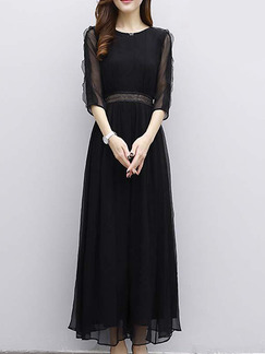 Black Chiffon Slim A-Line Furcal Plus Size Ruffled See-Through Dress for Casual Evening Office