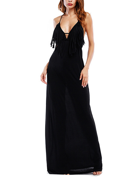 Black Knitted Slim A-Line Open Back Tassels Band Maxi Plus Size Slip Dress for Cocktail Prom