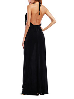 Black Knitted Slim A-Line Open Back Tassels Band Belt Maxi Plus Size Slip Dress for Cocktail Prom