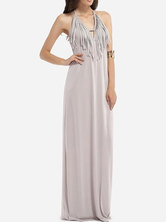 Grey Knitted Slim A-Line Open Back Tassels Band Belt Maxi Plus Size Halter Dress for Cocktail Evening