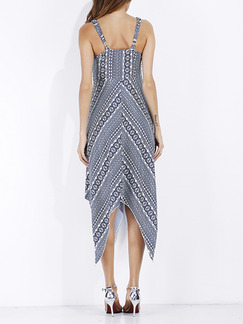 Blue and White Slim A-Line Open Back Asymmetrical Hem Printed Plus Size Midi Dress for Casual Party Evening