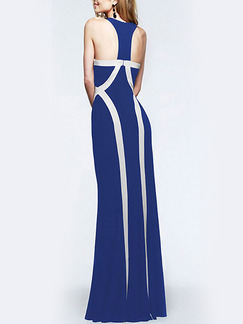 Blue and White Knitted Over-Hip Contrast Linking Off-Shoulder Maxi Plus Size Dress for Cocktail Evening Party