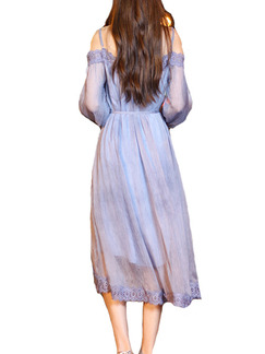 Purple Chiffon Loose A-Line Plus Size Linking Laced Asymmetrical Hem Band Belt Dress for Casual Party