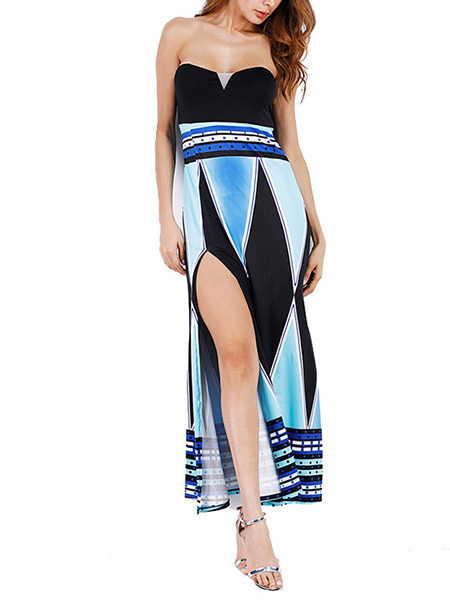 Blue White and Black Knitted Strapless Slim A-Line Furcal Plus Size Maxi Dress for Cocktail Evening