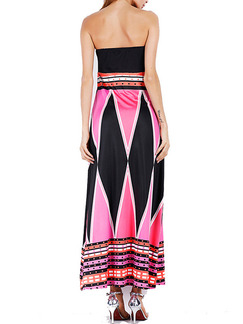 Pink White and Black Knitted Strapless Slim A-Line Furcal Plus Size Maxi Dress for Cocktail Evening