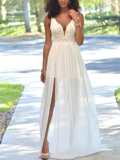 White Slim A-Line V Neck Lace Linking Chiffon Furcal Open Back Plus Size Maxi Dress for Prom Bridesmaid