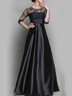 Black Slim Full Skirt Lace Satin Linking See-Through Bead Plus Size Dress for Cocktail Prom Ball