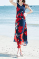 Blue and Red Chiffon Loose V Neck Band Printed Plus Size Midi Dress for Casual Beach