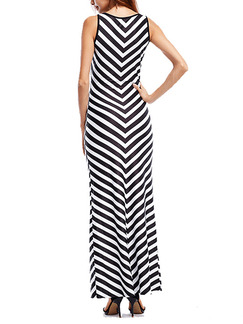 Black and White Knitted Stripe Over-Hip Maxi Plus Size Dress for Cocktail Evening