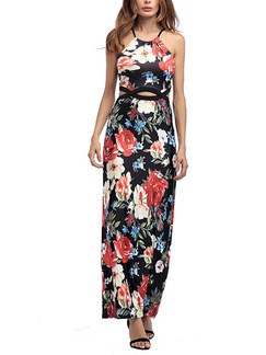 Colorful Knitted Slim A-Line Cutout Printed Floral Plus Size Maxi Halter Slip Dress for Cocktail Evening