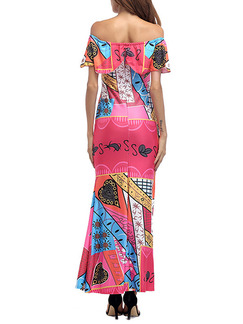 Pink Colorful Knitted Plus Size Over-Hip Fishtail Printed Ruffled Off-Shoulder Maxi Dress for Cocktail Evening