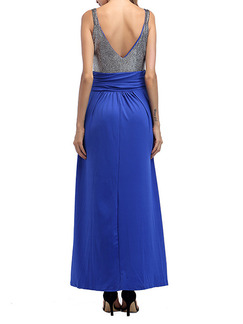 Silver and Blue Knitted Slim A-Line Contrast Linking Open Back Staming Plus Size Maxi Dress for Ball Prom Cocktail