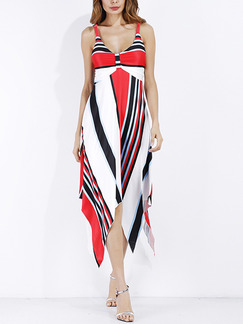 White Blue and Red Slim A-Line Open Back Asymmetrical Hem Printed Plus Size Dress for Cocktail Evening