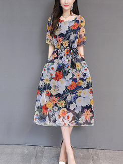 Colorful Chiffon Plus Size Loose Printed Midi Floral Dress for Casual Party Evening Office