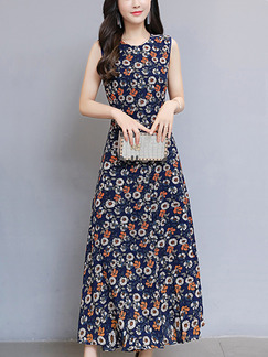 Blue Chiffon Slim Full Skirt Furcal Printed Floral Plus Size Dress for Casual Party Office