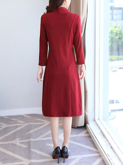 Red Seem-Two Plus Size Slim Band Belt Long Sleeve Dress for Casual Office Evening