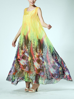 Colorful Chiffon Full Skirt Loose Located Printing Dress for Casual Party Beach