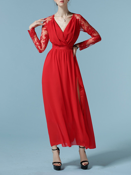 Red Chiffon Slim Full Skirt V Neck Lace Linking Furcal Plus Size Long Sleeve Dress for Office Evening Semi Formal