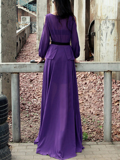 Purple Chiffon Slim Full Skirt Off-Shoulder Ruffled Plus Size Long Sleeve Dress for Semi Formal Evening