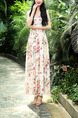 Cream Chiffon Slim Full Skirt V Neck Drawstring Printed Plus Size Dress for Casual Beach