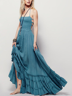 Blue Green Slim Full Skirt Open Back Pleated Band Belt Plus Size Dress for Casual Beach