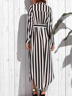 Black and White Chiffon Loose Shirt Asymmetrical Hem Adjustable Waist Band Belt Stripe Midi Long Sleeve Dress for Casual