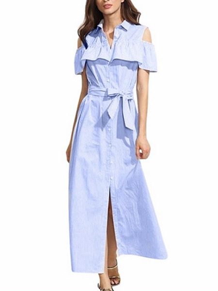 Blue Loose Shirt Off-Shoulder Ruffled Stripe Band Plus Size Dress for Casual
