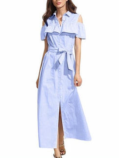 Blue Loose Shirt Off-Shoulder Ruffled Stripe Band Belt Plus Size Dress for Casual