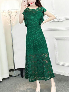Green Lace Slim A-Line Ruffled Dress for Casual Party Evening