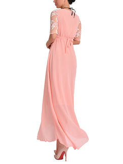 Pink Plus Size Slim Band Belt Bead Maxi Cute Dress for Cocktail Evening