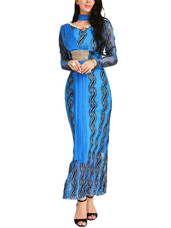 Blue Plus Size Slim Printed Maxi Long Sleeve Dress for Cocktail Evening