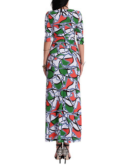 Colorful Plus Size Slim A-Line Printed Maxi Dress for Cocktail Evening