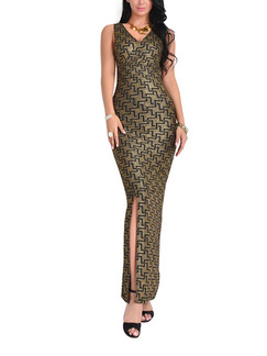 Golden and Black Knitted Over-Hip V Neck Shiner Open Back Furcal Maxi Bodycon Dress for Cocktail Evening