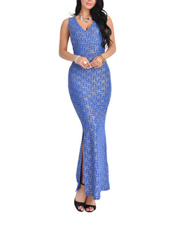 Silver and Blue Knitted Over-Hip V Neck Shiner Open Back Furcal Dress for Cocktail Evening