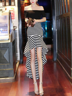 Black and White Off-Shoulder Over-Hip Contrast Linking Stripe Asymmetrical Hem Ruffled Dress for Cocktail Evening