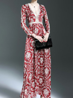 Red and White Chiffon Plus Size Slim Full Skirt V Neck Laced Linking Printed Long Sleeve Dress for Cocktail Party Evening