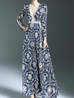 Blue and White Chiffon Plus Size Slim Full Skirt V Neck Laced Linking Printed Long Sleeve Dress for Cocktail Party Evening