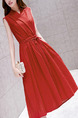 Red Plus Size Slim V Neck Drawstring Midi Dress for Casual Party