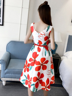 White and Red Slim Full Skirt Printed Open Back Buckled Dress for Casual Party