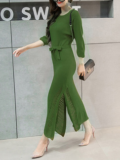 Green Knitted Furcal Stitching Over-Hip Band Belt Holes Dress for Casual Office Evening
